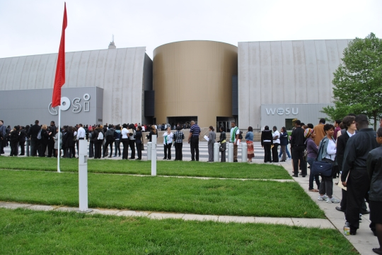 Line outside youth job expo